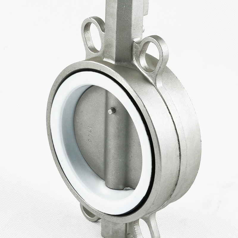 Stainless steel wafer butterfly valve with PTFE seat