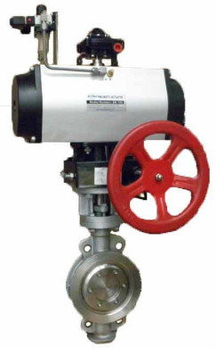 Approved Metal Seat Pneumatic Actuator and Manual Override Butterfly Valve